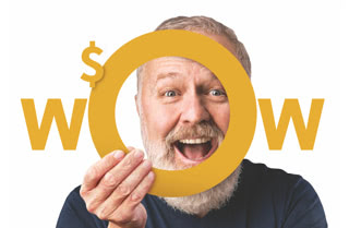 Happy man appearing to hold the word Wow